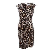 Calvin Klein Women's Animal-Print Faux-Wrap Sheath Dress - Brown Multi
