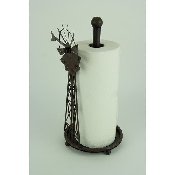 Rustic Distressed Metal Art Windmill Paper Towel Holder Kitchen Table Decor  - 14.5 X 9 X 7 inches