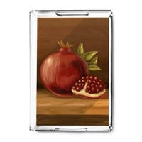 Pomegranate - Oil Painting - Lantern Press Artwork (Acrylic Serving Tray)