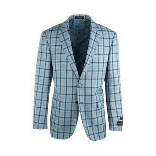 Sangria Light Gray with Navy and Blue Windowpane Pure Wool Jacket by Tiglio Luxe (More options available)