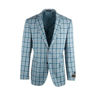 Sangria Light Gray with Navy and Blue Windowpane Pure Wool Jacket by Tiglio Luxe