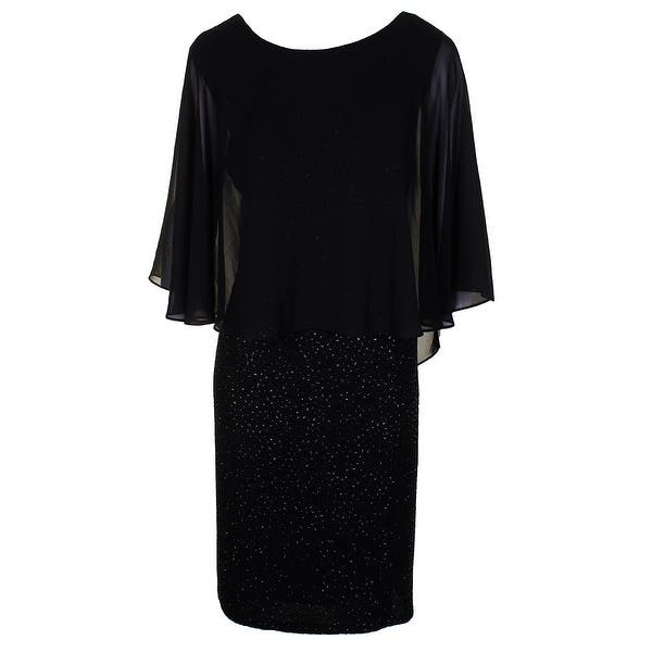 250236b5800 Betsy Adam Black Plus Size Chiffon Sequin Mixed Media Popover Sheath Dress  W - 18W