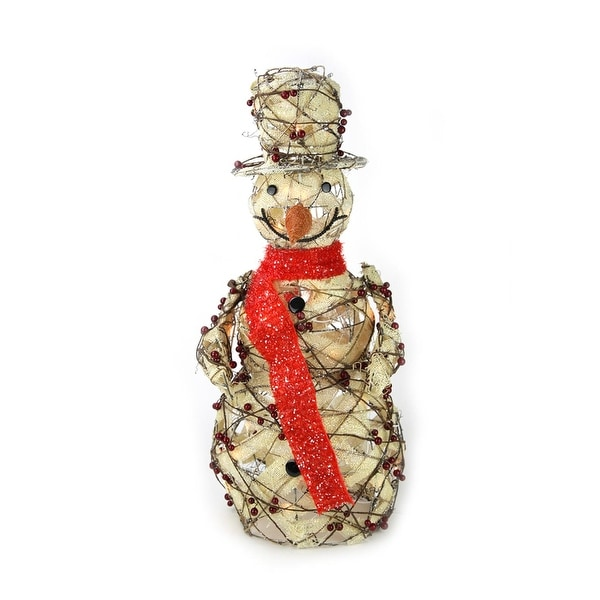 """27.5"""" Lighted Burlap and Berry Rattan Standing Snowman Christmas Outdoor Decoration"""