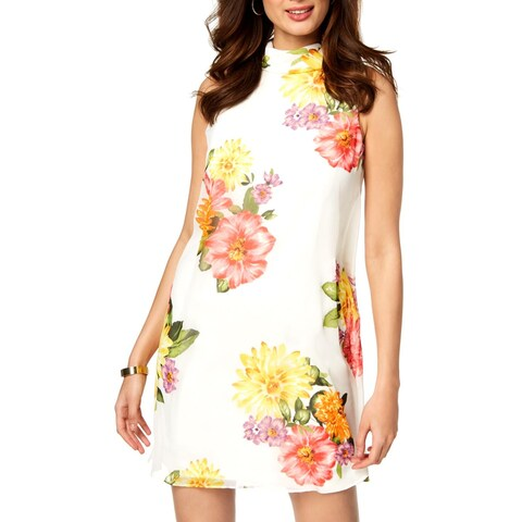 Jessica Howard Womens Babydoll Dress Floral Print Above Knee