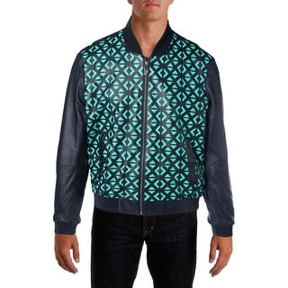 Versace Collection Mens Lambskin Leather Cut-Out Leather Coat - 54