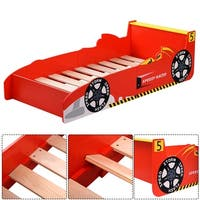 Costway New Kids Race Car Bed Toddler Bed Boys Child Furniture Red Wooden