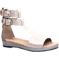 Dromedaris Women's Sophie Quarter Strap Sandal Pewter Metalized Leather