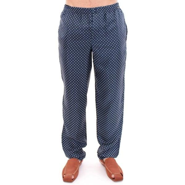 edb15ed2 Shop Dolce & Gabbana Blue Polka Dot SILK Pajama Pants Sleepwear - XS ...