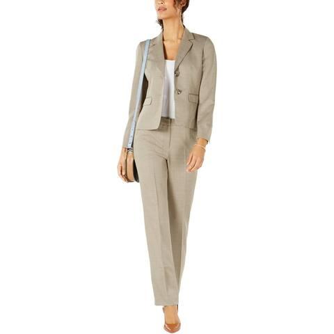 Le Suit Womens Pant Suit Two-Button Stripe