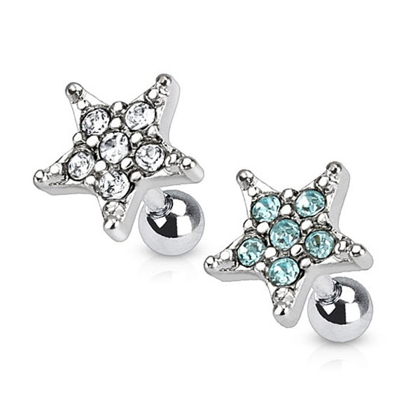Star Multi Paved Top 316L Surgical Steel Tragus/Cartilage Barbell (Sold Ind.)