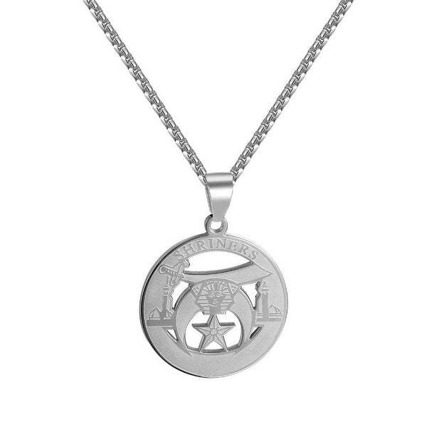 "Shriners Pendant Masonic Stainless Steel Charm Religious 24"" Necklace Classy"