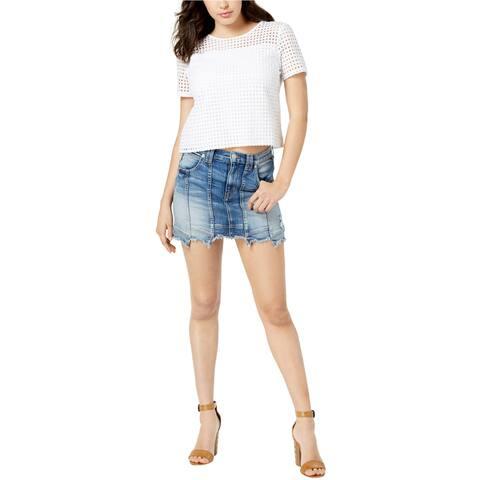 Hudson Womens Step Hem Denim Mini Skirt