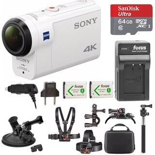 Sony FDR-X3000 4K Action Cam w/ 64GB microSD Card & Action Cam Accessory Bundle (White)