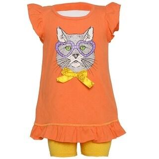Ziggles Wiggles Little Girls Orange Animal Face Print 2 Pc Pant Set