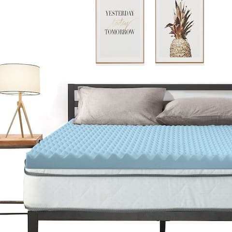 Convoluted Egg Shell Breathable Memory Foam Topper, Adds Comfort to Mattress - Blue