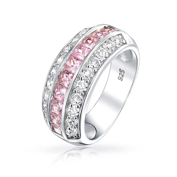 f6d50fa0bf087b Shop Bling Jewelry 925 Channel Set Pink Cubic Zirconia Wide Half Eternity  Ring - On Sale - Free Shipping On Orders Over  45 - Overstock - 17987688