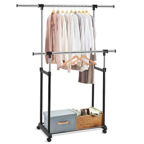 Gymax Double Rail Clothes Rack On Wheels Adjustable Clothing Garment