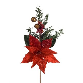 Club Pack of 12 Vibrant Red Poinsettia and Pine Christmas Spray 19.5