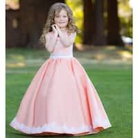 Triumph Dress Girls Coral White Lace Applique Chloe Flower Girl Dress