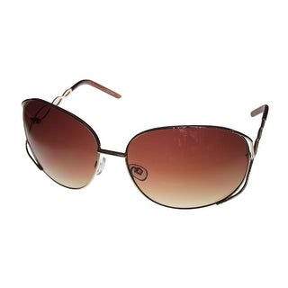 Esprit Womens Sunglass 19239 535 Gold Brown Rectangle Metal, Brown Gradient Lens - M