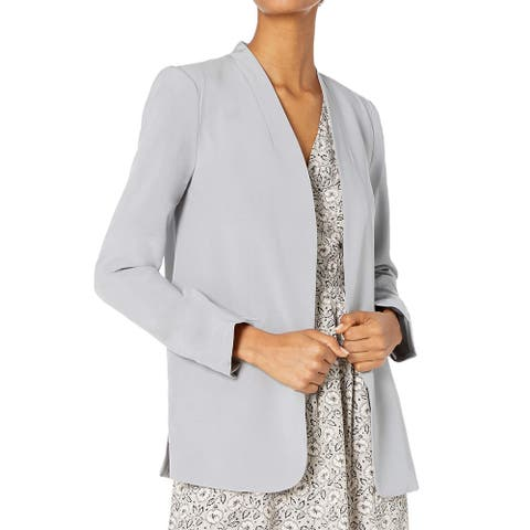 Kenneth Cole Womens Blazer Silver Size Small S Open-Front Collarless