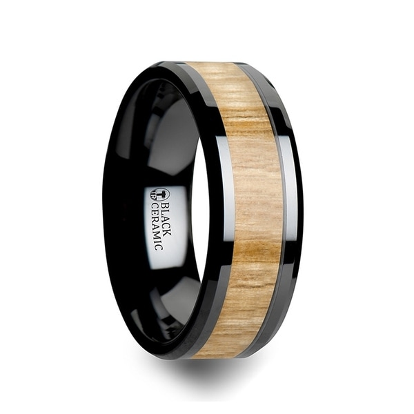 FILMORE Black Ceramic Ring with Polished Bevels and Ash Wood Inlay 8mm