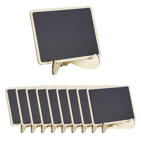 10pcs Wood Mini Chalkboard Signs Tag with Base Stand for Message Board Sign - Gray