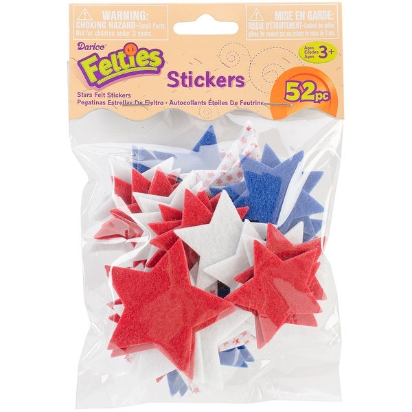 Felties Stickers 52/Pkg-Stars W/Prints