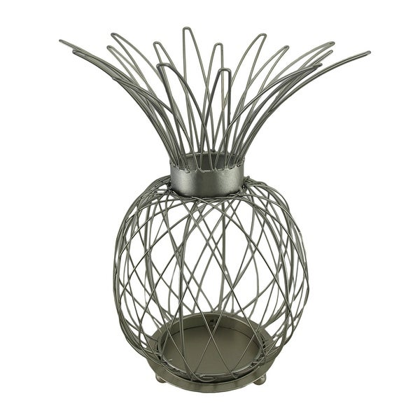 Satin Silver Finish Metal Wire Pineapple Shaped Candle Cage 15 in. - 15 X 8.5 X 8.5 inches
