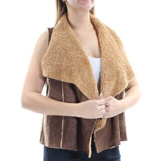 Womens Brown Sleeveless Casual Vest Sweater Size L