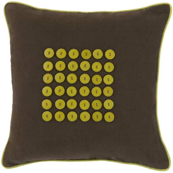"18"" Button Balneal Olive and Forest Decorative Cotton Throw Pillow"