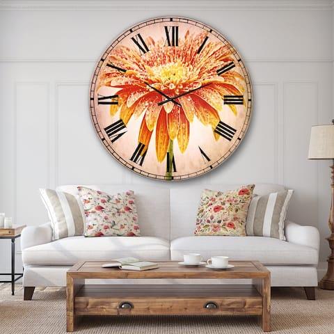 Designart 'Large Orange Gerbera on White' Floral Large Wall CLock