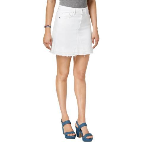 GUESS Womens Cowgirl Denim Skirt, white, Medium