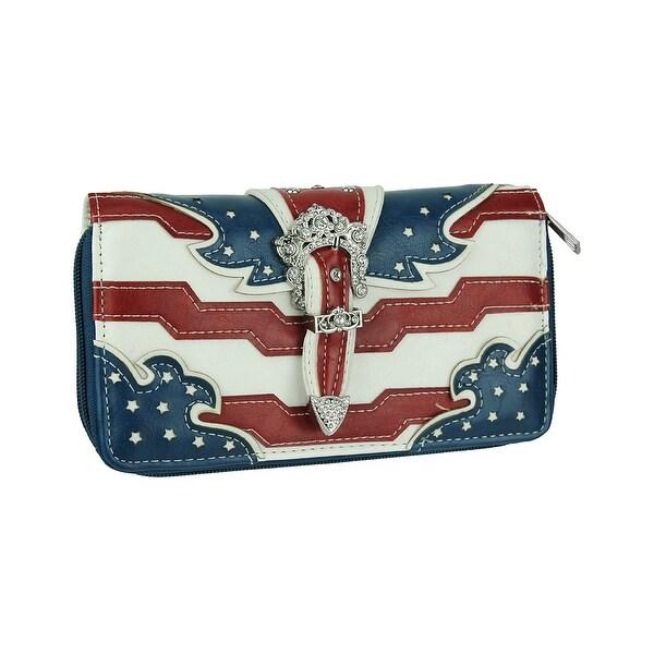 American Flag Rhinestone Buckle Western Style Wallet