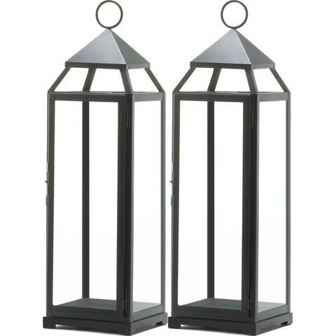 2 Extra Tall Black Contemporary Lanterns