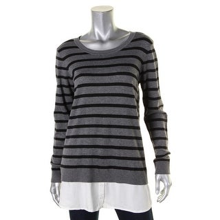 Bass Womens Pullover Sweater Striped Layered - l
