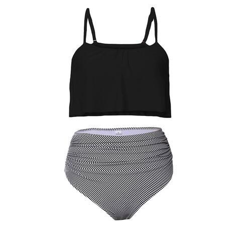 Byoauo Womens High Waist Bikini Swimsuits Two Piece Thin Shoulder Straps Plus... - Medium