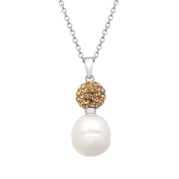 Freshwater Pearl Drop Pendant with Champagne Swarovski elements Crystals in Sterling Silver