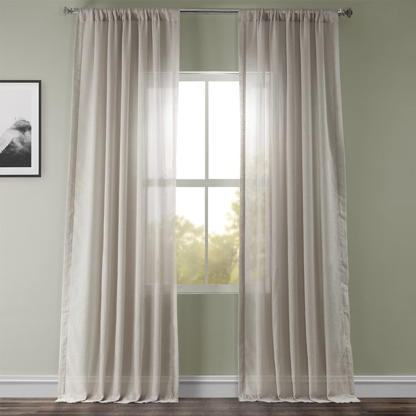 Exclusive Fabrics Tumbleweed Faux Linen Sheer Curtain Panel (1 Panel). Opens flyout.
