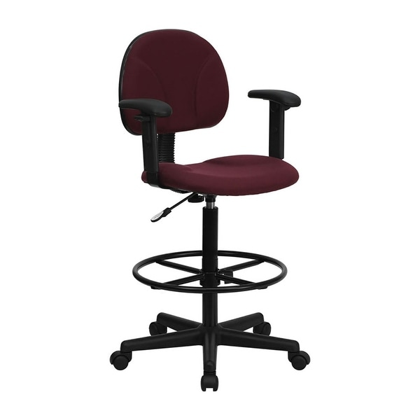 Offex Burgundy Fabric Ergonomic Drafting Chair With Adjustable Arms  [OF BT 659