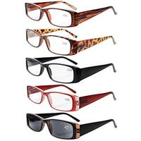 Eyekepper 5-Pack Spring Hinges Rectangular Reading Glasses Sun Readers+4.0