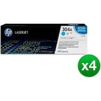 HP 304A Cyan Original LaserJet Toner Cartridge (CC531A)(4-Pack)