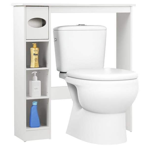 Cabinet Organizer with Double Door and 2 Shelves Storage Rack PAK Furniture Over The Toilet Bathroom Space Saver White