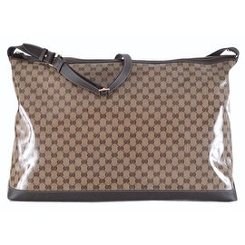 NEW Gucci 105669 XL Crystal GG Weekender Luggage Duffle Overnight Purse Bag