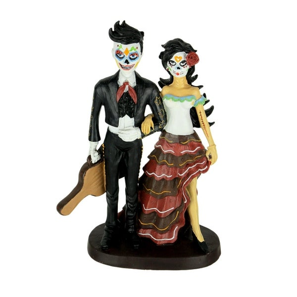 Day of the Dead Mariachi Man and Woman Statue - 10.75 X 7 X 3.25 inches