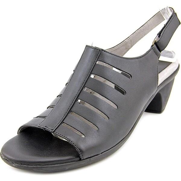 David Tate Lexus Women Open-Toe Leather Black Slingback Sandal
