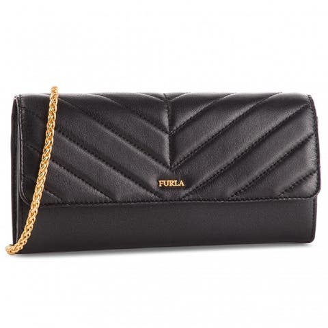 Furla Womens Black Leather Magia Chain Wallet XL