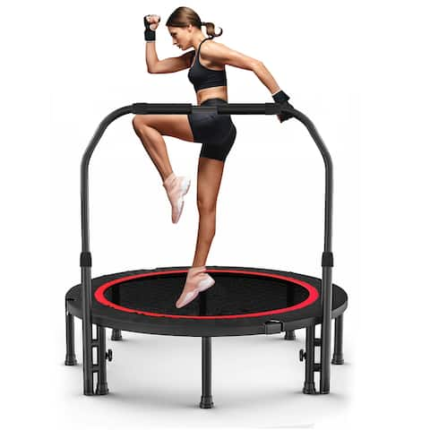 """38"""" Foldable Trampoline Fitness Rebounder for Indoor/Outdoor Workout Max Load 330 lbs - 39.76*39.76*33.46 inches"""