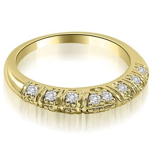 0.35 cttw. 14K Yellow Gold Antique Style Round Cut Diamond Wedding Ring