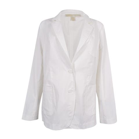 MICHAEL Michael Kors Women's Notched-Collar Two-Button Blazer (White, 8) - White